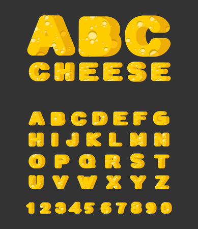 Cheese ABC. cheesy font. Food alphabet. Yellow letters milk product Illustration
