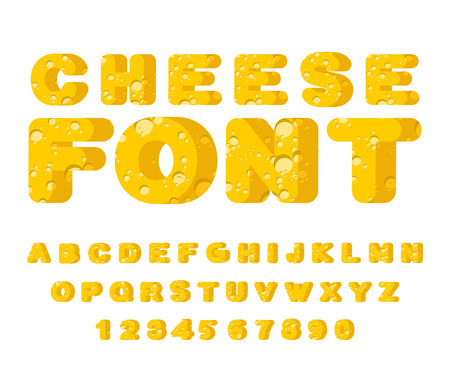 Cheese font. cheesy ABC. Food alphabet. Yellow letters milk product Illustration