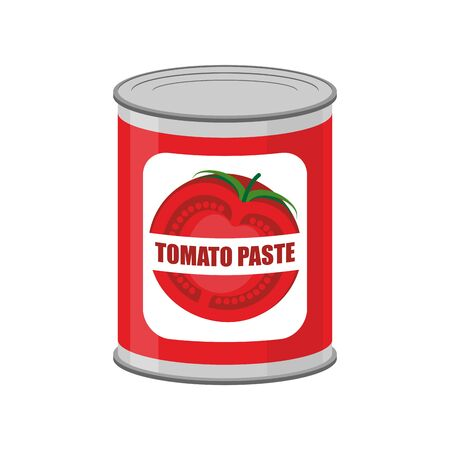 illustrative: Tomato paste tin can. Canned food with tomatoes