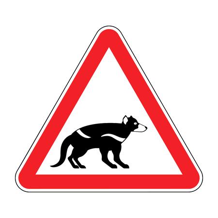 Attention Tasmanian devil. Danger is wild beast. Red prohibitory road sign Illustration