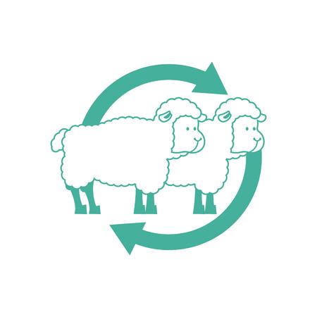 Clonación de ovejas signo. Icono de investigación de laboratorio