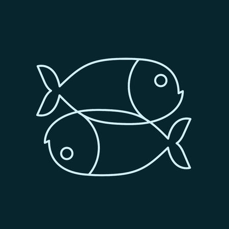 Icono de signo de zodiaco de pescado. Símbolo de animal de mar aislado Foto de archivo - 81761876