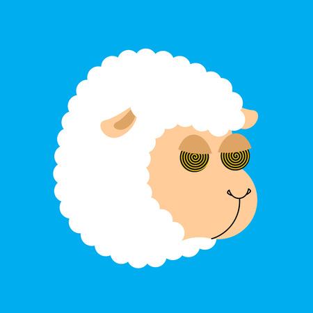 睡眠のための催眠の羊。催眠ファーム動物  イラスト・ベクター素材