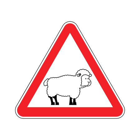 sheep warning: Attention of sheep. Caution farm is an animal. Red prohibitory road sign. Ban ewe