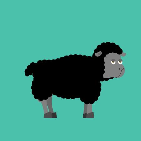 Black Sheep farm isolated animal. dark ewe on white background Ilustração