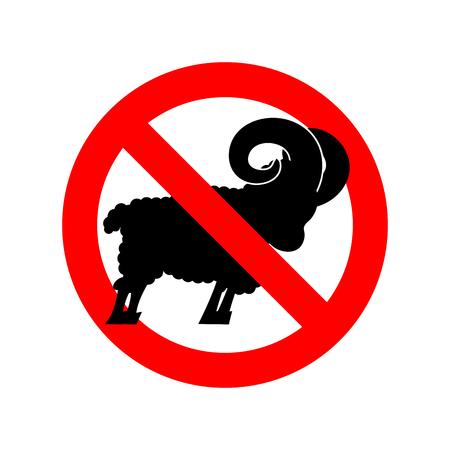 sheep warning: Stop ram. Attention farm animal. Red prohibitory road sign. Ban Sheep