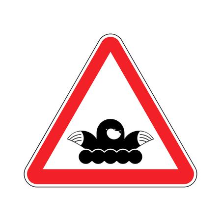 Attention mole. Musaraigne d'alerte. Signe prohibitif rouge. Pest Farm Illustration