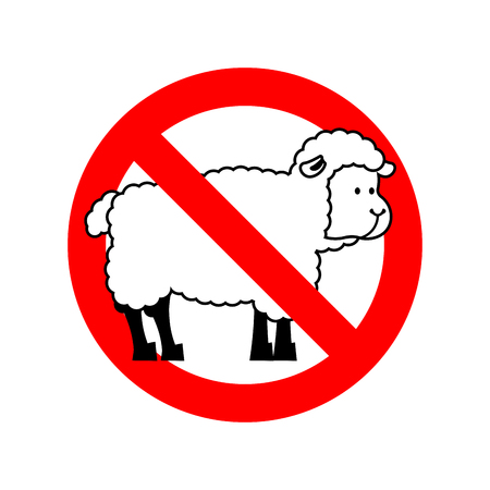 forbid: Stop sheep. Ban ewe. Attention farm is an animal. Red prohibitory road sign.