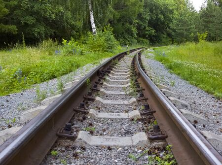 Old Abandoned railway track disappearing into woods