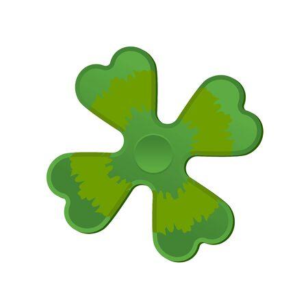 Irish spinner clover shamrock. Hand toy for Ireland. Green Clover Fidget finger Illustration