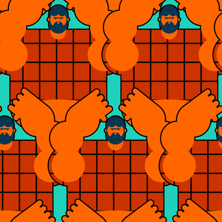 redneck seamless pattern. Angry bearded man in shirt background. Aggressive guy ornament