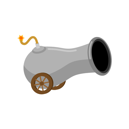 ancient cannon cartoon isolated. Funny little War Ship cannon