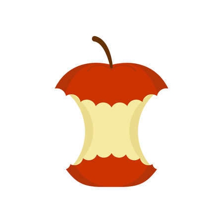 red apple core  isolated. rest of fruit on white background. Garbage