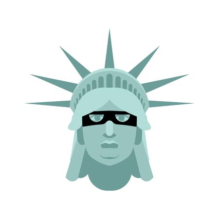 Statue of Liberty in mask. Landmark United States. Attractions America Illustration