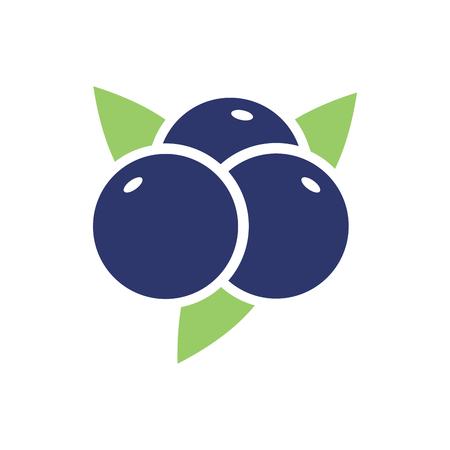 ブルーベリーのシンボル。黒いベリーのロゴ。食品の記号  イラスト・ベクター素材