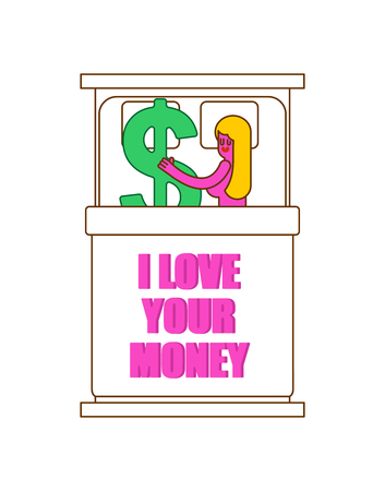 I love your money. Girl in bed with dollar. Sex for cash. Selling Love Illustration