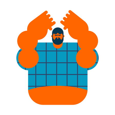 redneck isolated. Angry bearded man in shirt. Aggressive guy Illustration