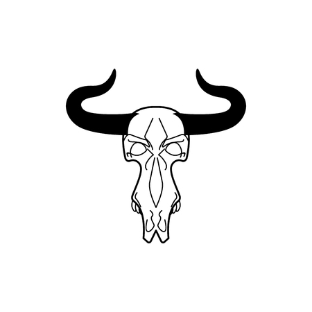 remains: Skull cow. head of skeleton bull. Death of an farm animal. Remains cattle Illustration