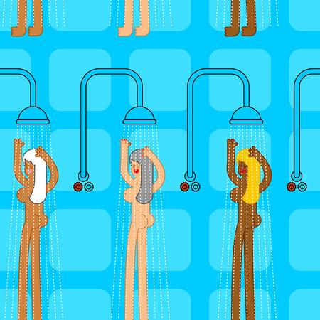 Patrón público de la casa de baños. mujer en lavados de ducha ornment. Hermosa mujer en el baño. Fondo de sala de ducha de gimnasio Foto de archivo - 83305969
