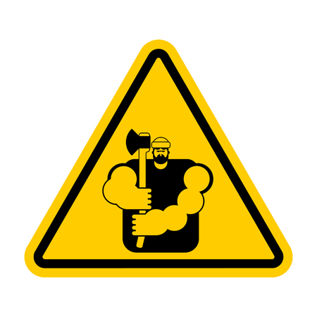 Lumberjack Attention sign for woodcutter caution road yellow warning symbol