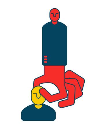 Boss grabs an employee, choice of staff business concept symbol 일러스트