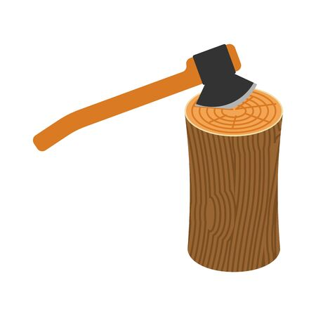 logging: Wooden billet and ax on white background Illustration