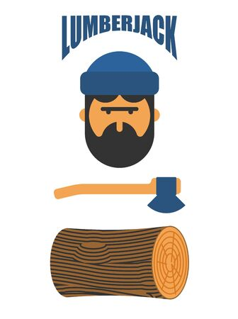 Lumberjack icon set, feller with beard and axes.