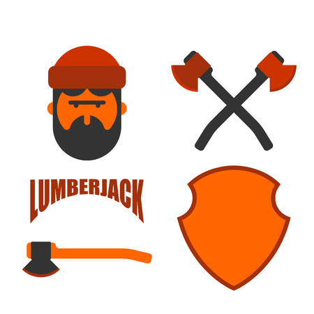 Lumberjack icon set feller with beard and axes. Illustration