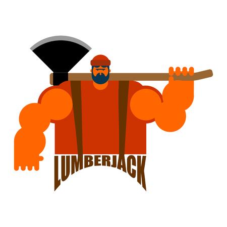 Lumberjack logo feller with beard and axes.