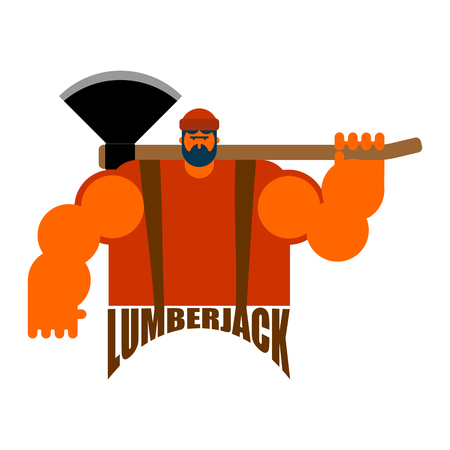 logging: Lumberjack logo feller with beard and axes.