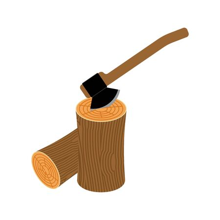 Wooden billet and ax on white background Illustration