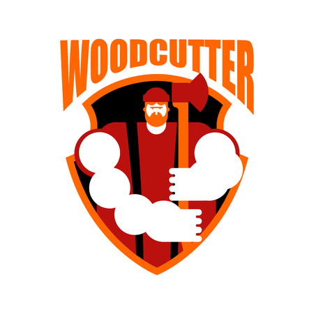 Woodcutter sign feller with beard and axes.