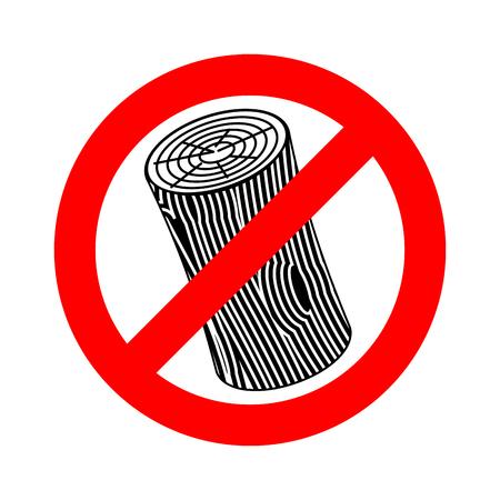 Wooden billet ban, road red Forbidden symbol Vektoros illusztráció