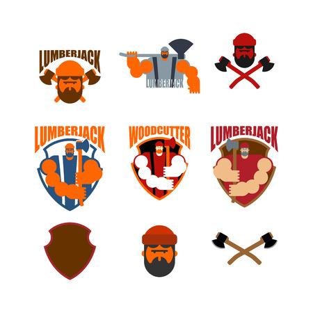 Woodcutter logo set.