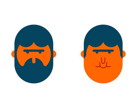 With beard and no beard, before and after. Illustration