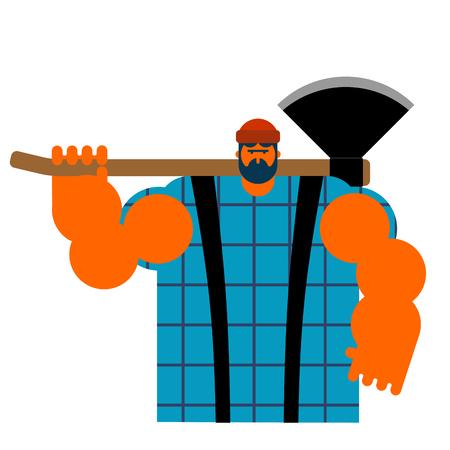Big lumberman feller with beard and axes.