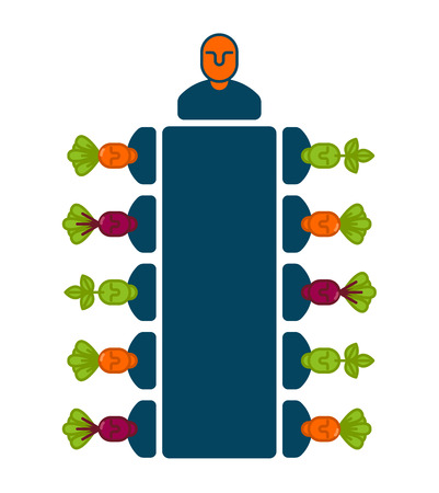 business team: Meeting office icon, boss and subordinates business concept illustration Illustration