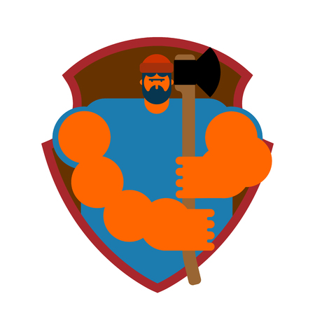 logging: Lumberman symbol feller with beard and axes.
