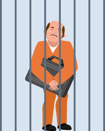 Boss with suitcase of money behind bars. Illustration