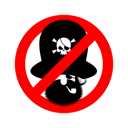 piracy: Stop pirate. Red prohibiting sign rover. Ban filibuster.