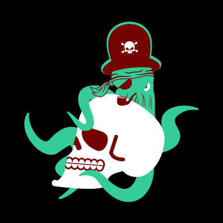 saber tooth: Octopus pirate and skull. poulpe buccaneer and skeleton head. Eye patch and smoking pipe. pirates cap. Bones and See animal filibuster.