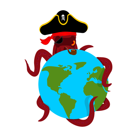 Octopus pirate and earth. poulpe buccaneer and planet. Eye patch and smoking pipe. pirates cap. Bones and See animal filibuster.