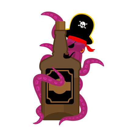 Octopus pirate and bottle of rum. poulpe buccaneer and brandy. Eye patch and smoking pipe. pirates cap. Bones and Skull. See animal filibuster and binge.