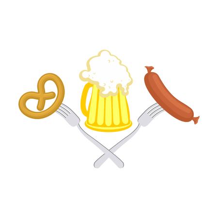 オクトーバーフェスト ビール、ソーセージとプレッツェルのシンボル。ドイツのビールの祝日に署名します。アルコールとクラッカー。  イラスト・ベクター素材