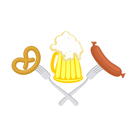 Oktoberfest symbol of beer, sausage and pretzel. Sign National Holiday of beer in Germany. Alcohol and cracker.