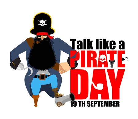 jargon: International Talk Like A Pirate Day. Pirate Hook and cannon. Eye patch and smoking pipe. filibuster cap. Bones and Skull. Head corsair black beard. buccaneer Wooden foot. Illustration