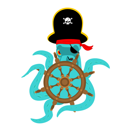 Octopus pirate and Hand wheel. poulpe buccaneer and Rudder. Eye patch and smoking pipe. pirates cap. Bones and See animal filibuster.