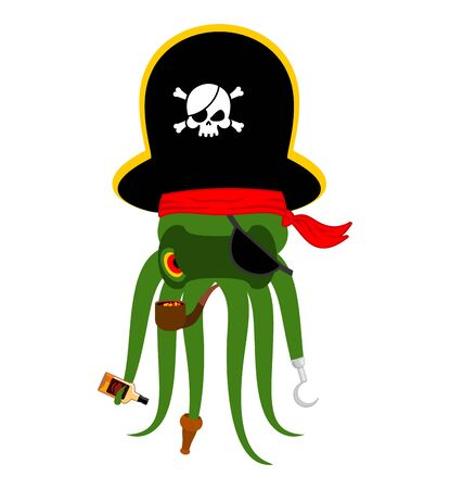 Octopus pirate. poulpe buccaneer. Eye patch and smoking pipe. pirates cap. Bones and Skull. See animal filibuster
