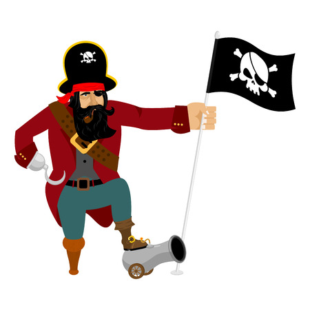Pirate Hook and cannon. Eye patch and smoking pipe. filibuster cap. Bones and Skull. Head corsair black beard. buccaneer Wooden foot.