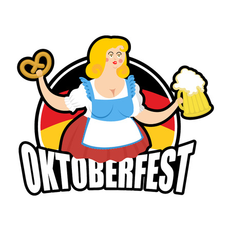 Oktoberfest girl and beer mug. National Beer Festival in Germany. Woman and alcohol.
